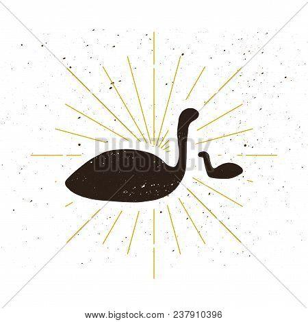Retro dinosaur silhouette icon. Mesozoic era symbol. Expedition logo or icon. Vector poster