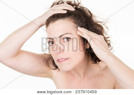 Woman Is Checking White Hair While Looking At The Mirror Her Scalp