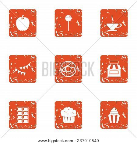 Luscious Icons Set. Grunge Set Of 9 Luscious Vector Icons For Web Isolated On White Background