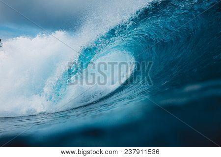 Big Ocean Blue Wave. Breaking Barrel Wave