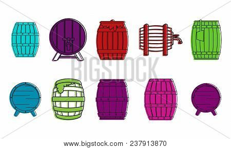 Wood Barrel Icon Set. Color Outline Set Of Wood Barrel Vector Icons For Web Design Isolated On White