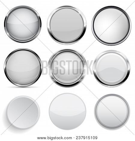 Glass And Plastic Buttons Collection. White Round 3d Buttons. Vector Illustration Isolated On White