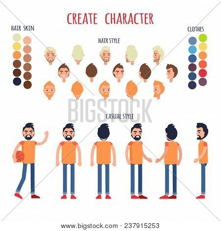 Create Character Vector Banner In Casual Style On White. Collection Of Hair Styles, Skin Types, Clot