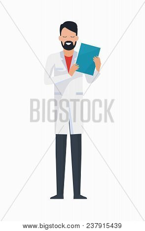 Doctor With Folder Icon Isolated On White Background. Vector Illustration With Man With Beard Dresse