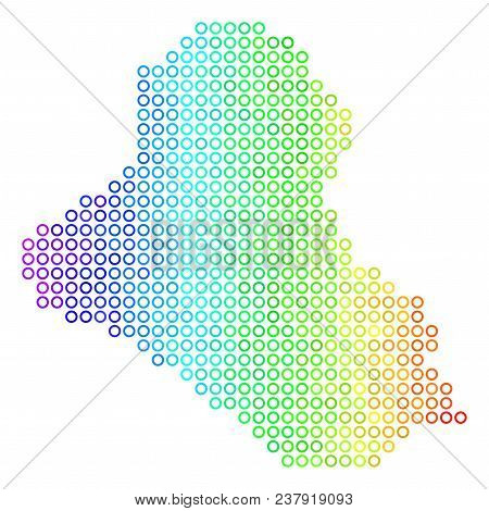 Colored Spectrum Iraq Map. Vector Geographic Map In Bright Spectral Color Variations With Horizontal