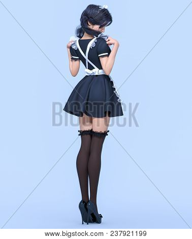 3d Beautiful Young Attractive Girl Maid Black Dress,stockings And White Apron.woman Uniform.woman St