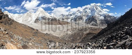 Panoramic View Of Everest, Pumori, Kala Patthar And Nuptse With Beautiful Clouds On Sky, Khumbu Vall