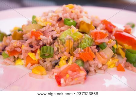 Fried Rice On White Plate, Stock Photo