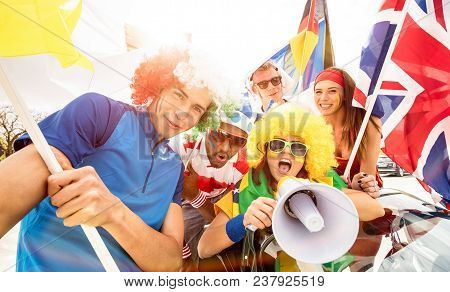 Football Supporter Fans Friends Cheering After Soccer Cup Match Hanging Around With Car And Flags -