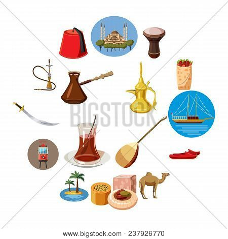 Cartoon Turkey Icons Set. Universal Turkey Icons To Use For Web And Mobile Ui, Set Of Basic Turkey E