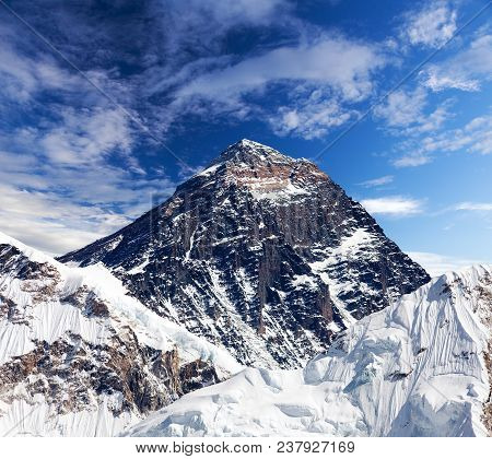 View Of Top Of Mount Everest With Clouds From Kala Patthar Way To Mount Everest Base Camp, Khumbu Va
