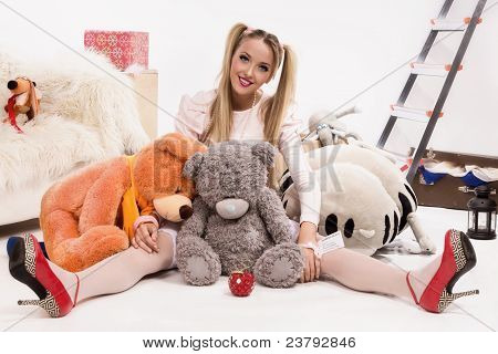 Young Blonde Dressed Up As A Doll