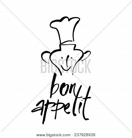 Bon Appetit. Hand Drawn Typography Poster. Vector Calligraphy. Inspirational Vector Typography.