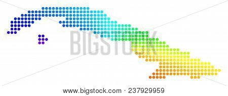 Spectral Dot Cuba Map. Vector Geographic Map In Bright Rainbow Colors With Circular Gradient. Multic