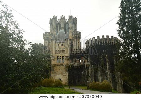 Front Facade Of Butron Castle, Castle Built In The Middle Ages. Architecture History Travel. March 2