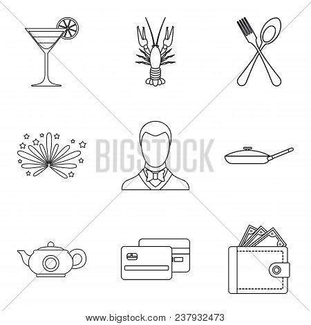 Wedding Feast Icons Set. Outline Set Of 9 Wedding Feast Vector Icons For Web Isolated On White Backg