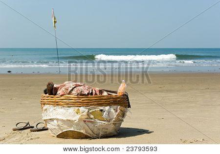 Basket Of Coconut Seller In Vagator Beach