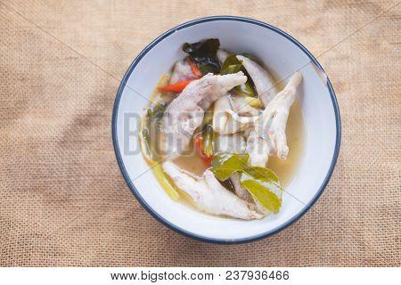 Chicken Feet Thai Hot Soup Tom Yam In Bowl