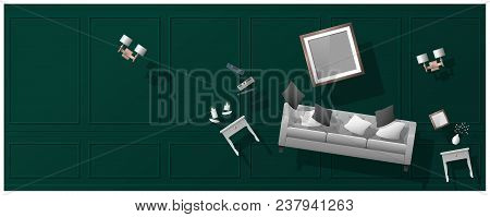 Interior Concept Background With Furniture Hovering Into New Living Room , Vector , Illustration