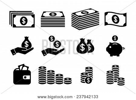 Financial Icon Set. Money Icons. Money Stack, Coin Stack, Piggy Bank, Wallet With Money Icons.