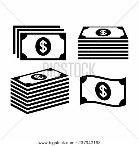Stack Of Dollar Money Icons. Banknote Icon Set. Pile Of Money Icons. Money Stack.