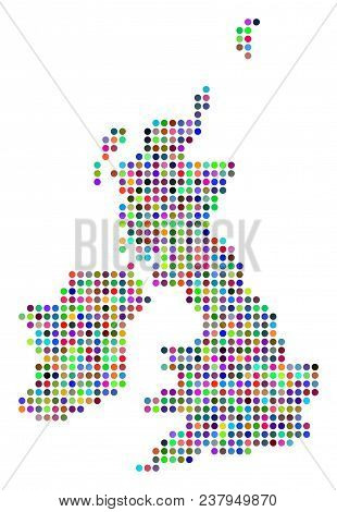 Bright Dot Great Britain And Ireland Map. Vector Geographic Map In Bright Colors On A White Backgrou