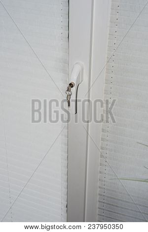 Security Technology - Lock On Door Window Handle As Burglary Protection