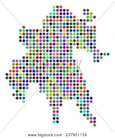 Colored Pixel Peloponnese Half-island Map. Vector Geographic Map In Bright Colors On A White Backgro