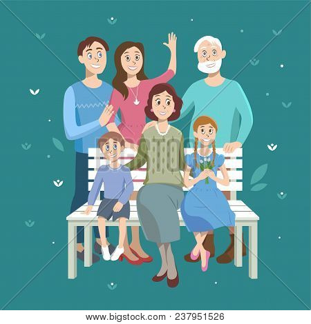 Cartoon Portrait Of The Family. Grandfather, Grandmother, Husband And Wife And Two Children Of Grand