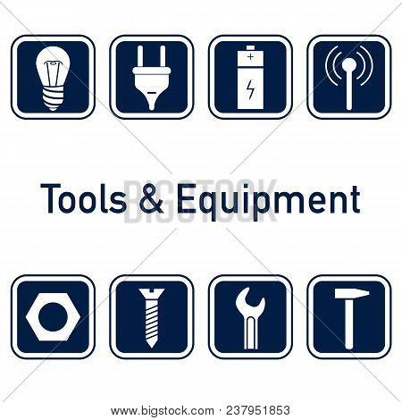 Collection Of Icons. Tools And Equipment, Metalware Elements For Web Or Logo