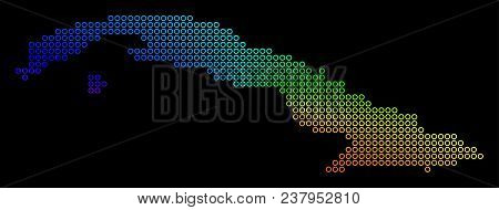 Rainbow Dotted Cuba Map. Vector Geographic Map In Bright Spectral Colors With Circular Gradient On A