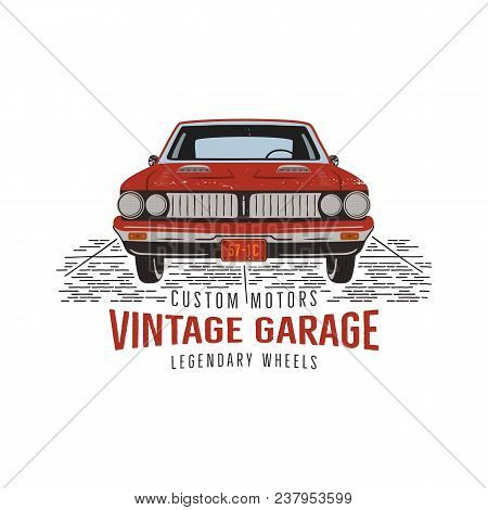 Vintage Hand Drawn Muscle Car. Retro Red American Auto Symbol Design. Usa Classic Automobile Emblem