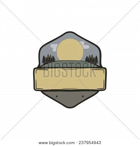 Vintage Hand Drawn National Park Badge, Patch Concept. Blank Template. Paste Your Own Texts. Camping