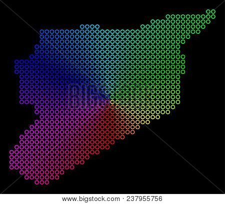 Spectrum Dotted Syria Map. Vector Geographic Map In Bright Rainbow Colors With Circular Gradient On