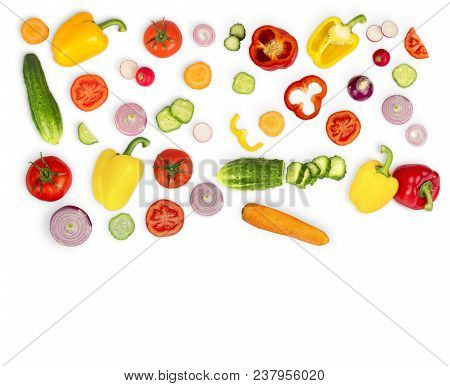 Vegetable Mix On White Isolated Background. Fresh Yellow Pepper, Chopped Tomatoes, Onion, Round Cucu