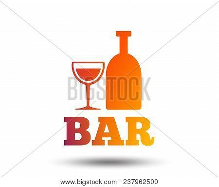 Bar Or Pub Sign Icon. Wine Bottle And Glass Symbol. Alcohol Drink Symbol. Blurred Gradient Design El
