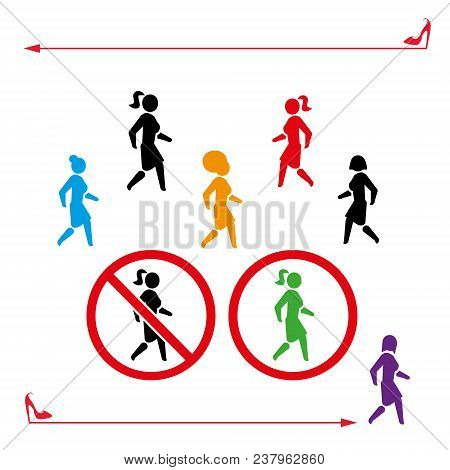 Woman Icon Walk And Don T Walk, Set . People Back-white Or Color Symbol. Vector Illustration Girl Wa