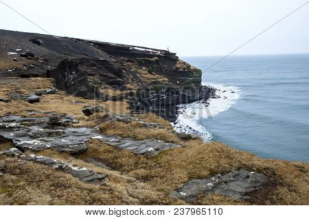 The Cliffs On The Coastline Of The Reykjanes Peninsula In Iceland