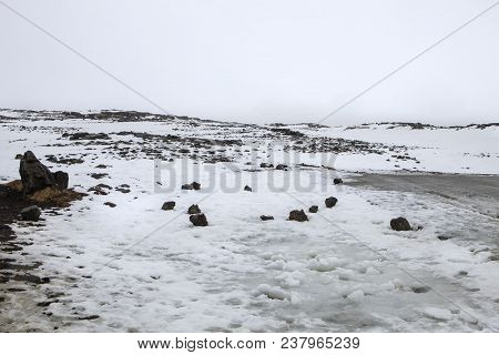 A Scenic Snow Covered Landscape On The Reykjanes Peninsula