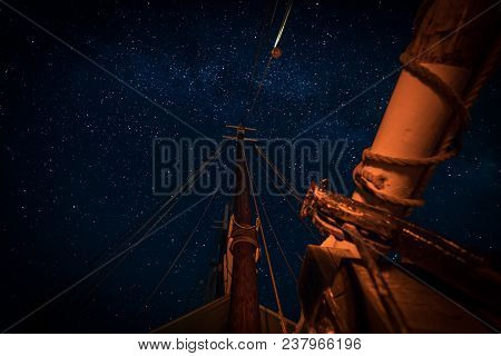Stars Above The Masts And Spar - On 101 Year Old Wooden Schooner
