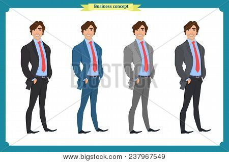 Happy Elegant Businessman In Suit.isolated Vector On White.standing Person.business Man Cartoon.peop
