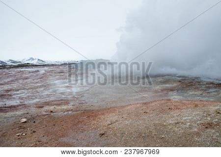 A Plume Of Steam Escapes From The Gunnuhver Hot Spring In Iceland