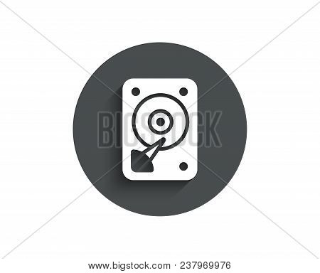 Hdd Icon. Hard Disk Storage Sign. Hard Drive Memory Symbol. Circle Flat Button With Shadow. Vector