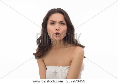 Close Up Of Beautiful Brunette Adult Shouting In White Studio. Isolated On White Background. Mid Age