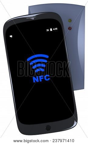 Generic Smartphone Touches Nfc Reader Isolated On White. 3d Rendering