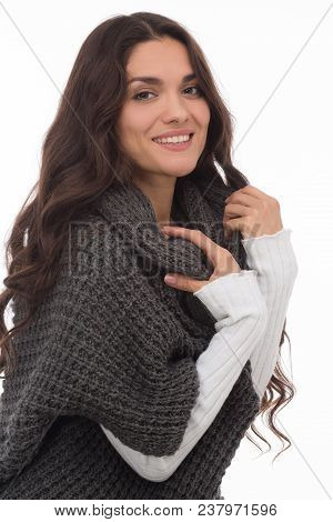 Smiling Luxury Brunette Posing On Camera In Gray Cardigan. Isolated On White Background. Mid Age Wom
