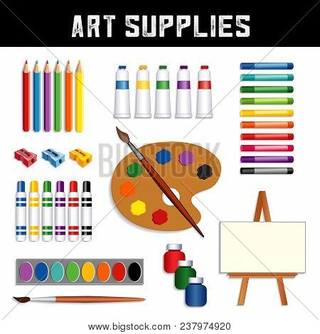 Art Supplies Collection: Colored Pencils, Sharpeners, Tubes Of Paint, Oil Pastel Crayons, Felt Tip M