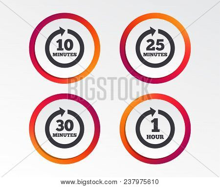 Every 10, 25, 30 Minutes And 1 Hour Icons. Full Rotation Arrow Symbols. Iterative Process Signs. Inf