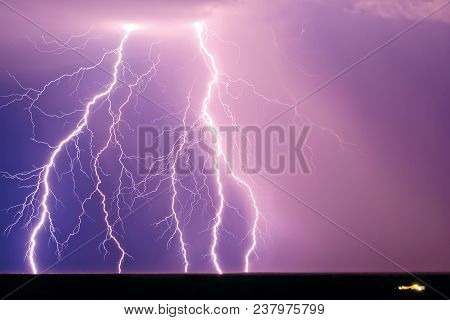 A Monstrous Lightning Display Near The Remote Town Of Tonopah Arizona During The Monsoon Season. The