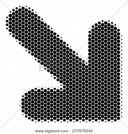 Halftone Dot Arrow Down Right Icon. Pictogram On A White Background. Vector Collage Of Arrow Down Ri